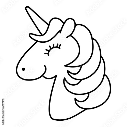 Unicorn Head Smile And Happy Cartoon Line Art Coloring Page Stock