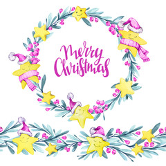 Watercolor round frame and seamless horizontal banner. Cartoon stars in warm cloths , leaves and berries. New Year. Merry Christmas. Celebration illustration. Can be use in winter holidays design