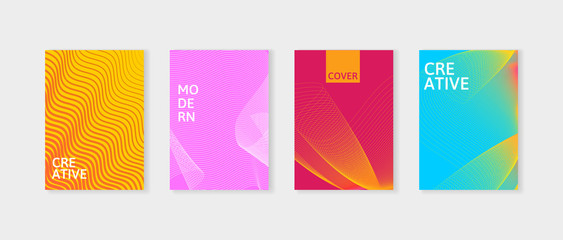 Minimal covers design set. Simple shapes with trendy gradients. Covers with geometric lines. Applicable for Banners, Placards, Posters and Flyers.