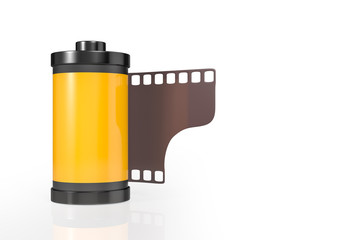 3d rendering front view of yellow film camera roll isolated on white background with clipping paths.