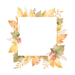 Watercolor square frame of leaves and branches isolated on white background.