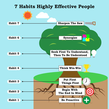 Infographic With Icons 7 Habits Highly Effective People