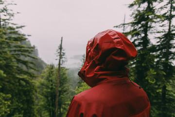 Wanderer mit Regenjacke blickt auf die Wolken und Wälder in den Voralpen am Walchensee, Deutschland