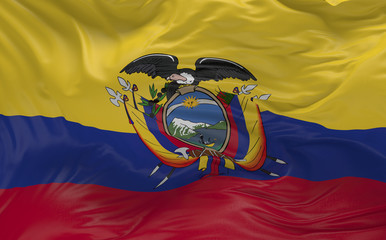 Flag of the Ecuador waving in the wind 3d render