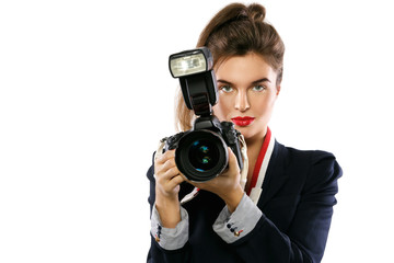 Woman photographer with a DSLR camera