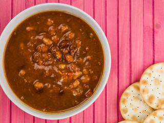 Bowl of Thick Chunky Vegetable and Bean Soup