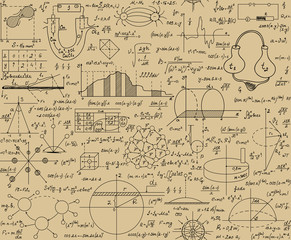 "Scientific vector seamless pattern with physical and math formulas, figures, task solutions, plots and calculations, ""handwritten on the old grey paper"""