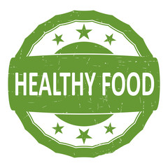 Healthy food green rubber stamp. Flat vector.