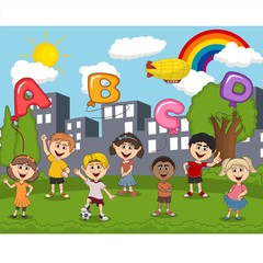 Children playing at the park with letter balloon and rainbow cartoon