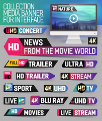 Collection media banner for interface, live news, breaking news, full hd trailer, news label, ultra HD, Sport, live stream inscription. Vector Illustration.