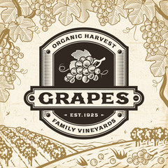 Retro grapes label on harvest landscape. Editable EPS10 vector illustration in woodcut style with clipping mask and transparency.