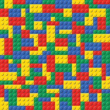 Colorful Lego Brick Seamless Background Pattern vector illustration