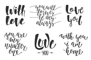 Set of vector love romantic lettering for greeting cards, decoration, prints and posters. Hand drawn typography design elements. Handwritten lettering. Modern ink brush calligraphy.