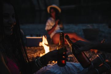 Friends Gathered Around a Campfire