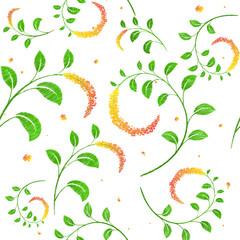 Meadow  orange yellow flowers seamless pattern