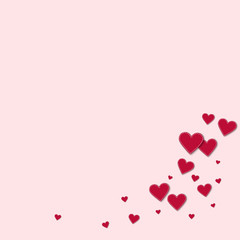 Red stitched paper hearts. Bottom right corner on light pink background. Vector illustration.