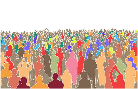 Illustration of large mass of people in perspective and color