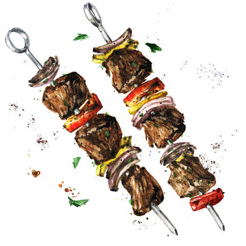 Meat kebab. Watercolor Illustration.