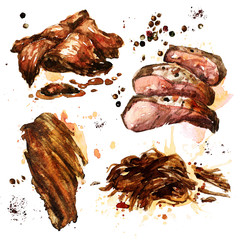 Variety of cooked meat. Watercolor Illustration.