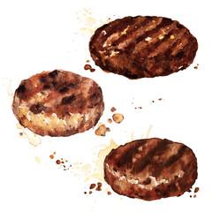 Burger patties. Watercolor Illustration.