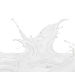 Splashes of milk or cream on white background