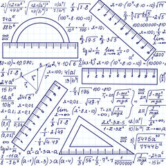 """Mathematical vector seamless texture with formulas and geometrical tools, """"handwritten on a grid copybook paper"""""""