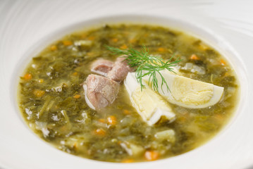 soup with egg and meat