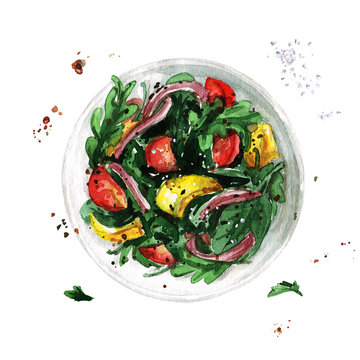 Salad bowl. Watercolor Illustration.