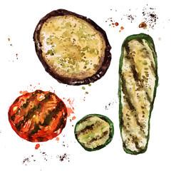 Grilled sliced vegetables. Watercolor Illustration.