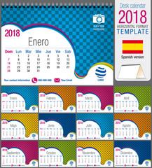 Desk triangle calendar 2018 colorful template. Size: 21 cm x 15 cm. Format A5.  Vector image. Spanish version