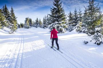 Foto auf Gartenposter Wintersport Frau beim Langlaufen in Winterlandschaft