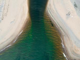 View from above estuary river beach sand Aberdeen Scotland UK