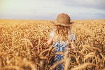 Happy child in autumn wheat field
