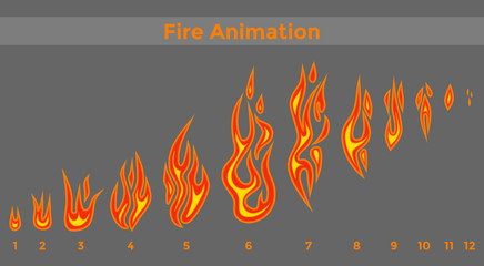 Flat fire sprites for animation frames icons.