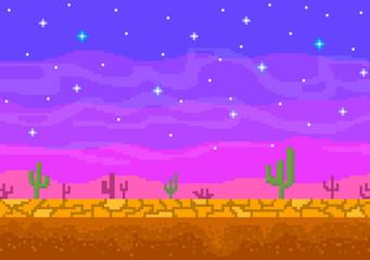 Pixel art sunset in the desert.
