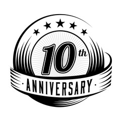 10 years anniversary design template. Vector and illustration. 10th logo.