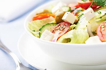 Fresh salad with feta cheese