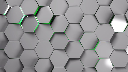 Wall Mural - metal and green hexagons modern background illustration