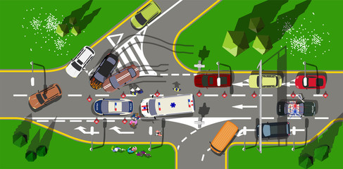Top view road incident with Muscle cars in the city