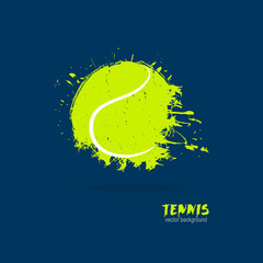 Vector illustration tennis ball (retro, grunge, spray). Design print for T-shirts. Element sports for the poster, banner, flyer.