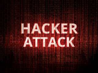 Hacker attack, background with binary coding.
