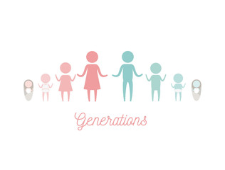 white background with color silhouette pictogram female and male generations people vector illustration