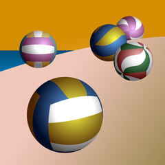 Set of volleyball balls