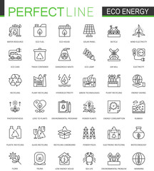 Eco energy thin line web icons set. Renewable green technology outline stroke icons design.