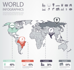 World map infographic template. All countries are selectable. Vector