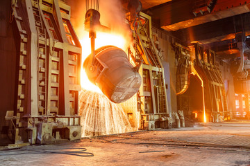 Blast furnace smelting liquid steel in steel mills Wall mural