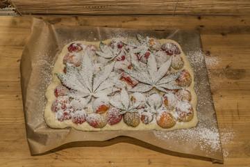 Before baking of marijuana apricot cake