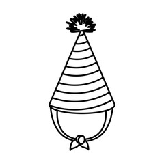 monochrome silhouette of party hat with thick lines around decoratives vector illustration