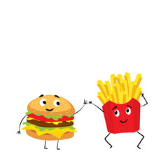 French fries and a cheeseburger with funny muzzles. Smile and emotions. Vector illustration.