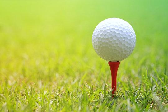 Golf ball on wooden golf tee.